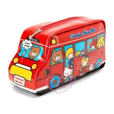 ♥小花花日本精品♥hello kitty凱蒂貓三麗鷗家族圖案巴士造型收納包化妝包筆袋-紅色款 60147707