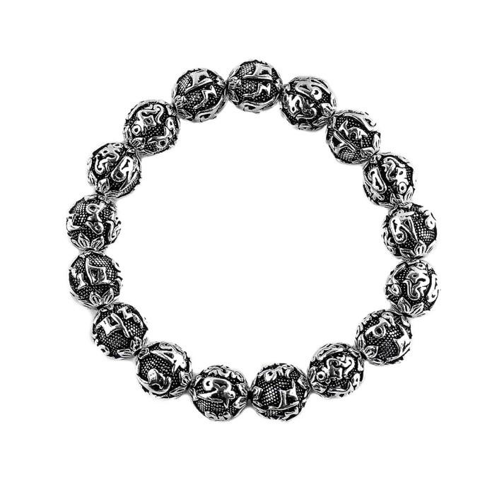 【JK銀飾】六字真言硫化/925純銀【串珠、天然礦石】