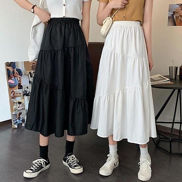 夏季2020新款復古赫本風半身裙女設計感小眾中長款荷葉邊A字裙子