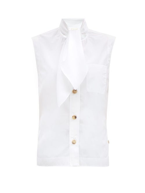 Chloé - Tie-neck Sleeveless Cotton-poplin Blouse - Womens - White