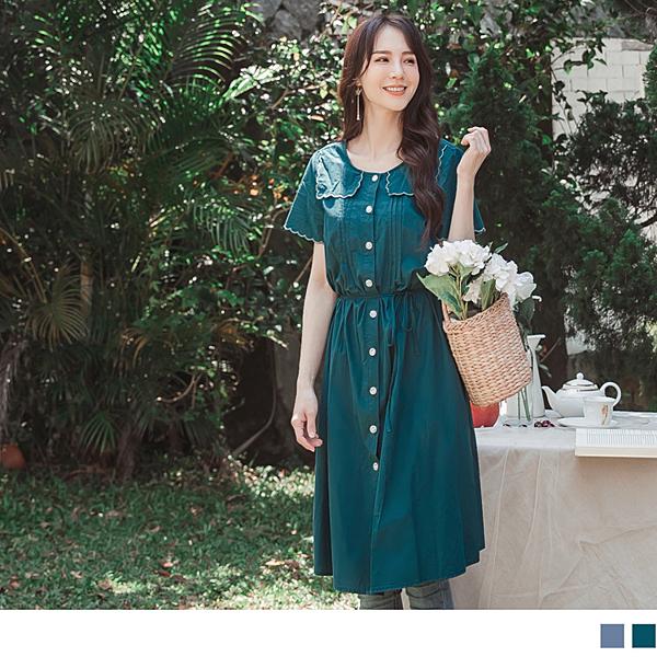 《DA7565-》高含棉花邊造型壓褶開襟襯衫式綁帶長洋裝/罩衫 OB嚴選