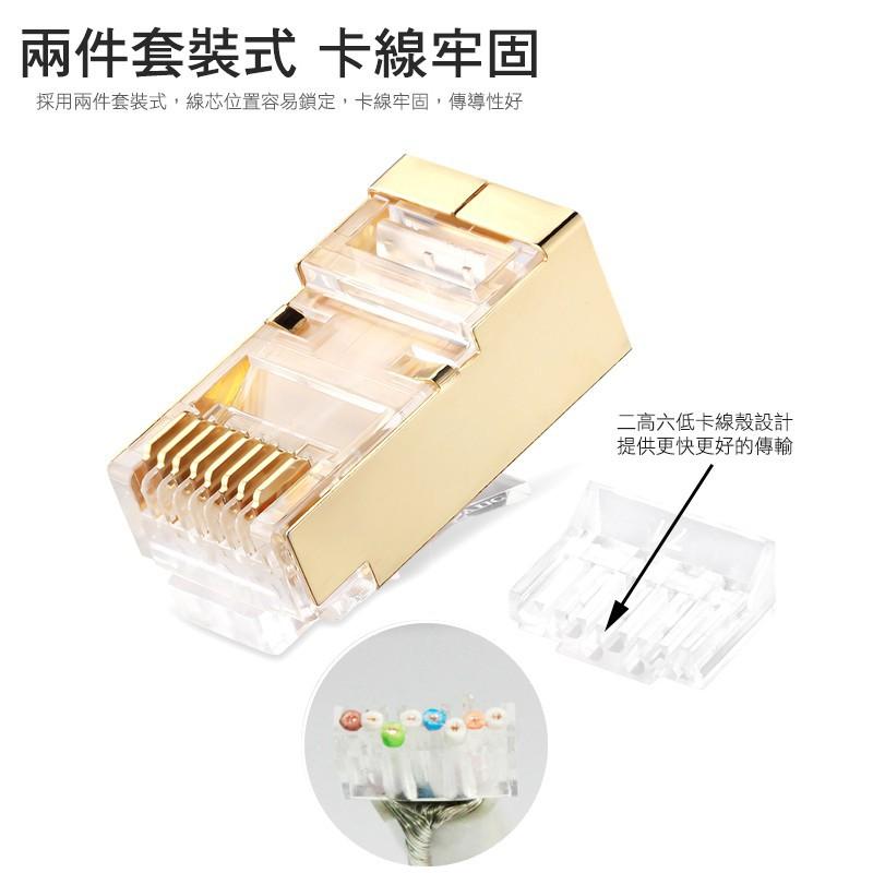 群加 Cat.7銅殼鍍金水晶頭三叉 50u兩件式 (APTG10TB)