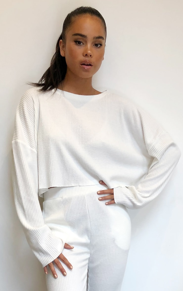 Cream Soft Rib Crop Sweater