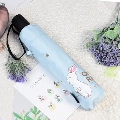 【雙龍牌】好奇兔降溫13度黑膠自動傘自動開收傘晴雨傘B6290NC-天空藍