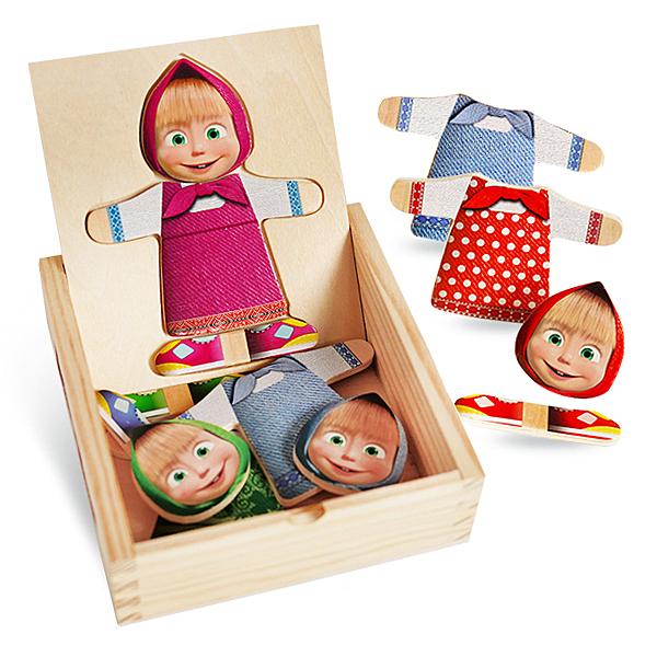 瑪莎換裝木製拼圖盒 寶寶玩具 木製玩具 益智玩具