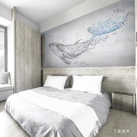 【免運】北歐幾何壁畫3d立體抽象鯨魚藝術牆布壁紙客廳沙發電視背景牆牆紙 陽光好物 喜迎新春 全館8.5折起