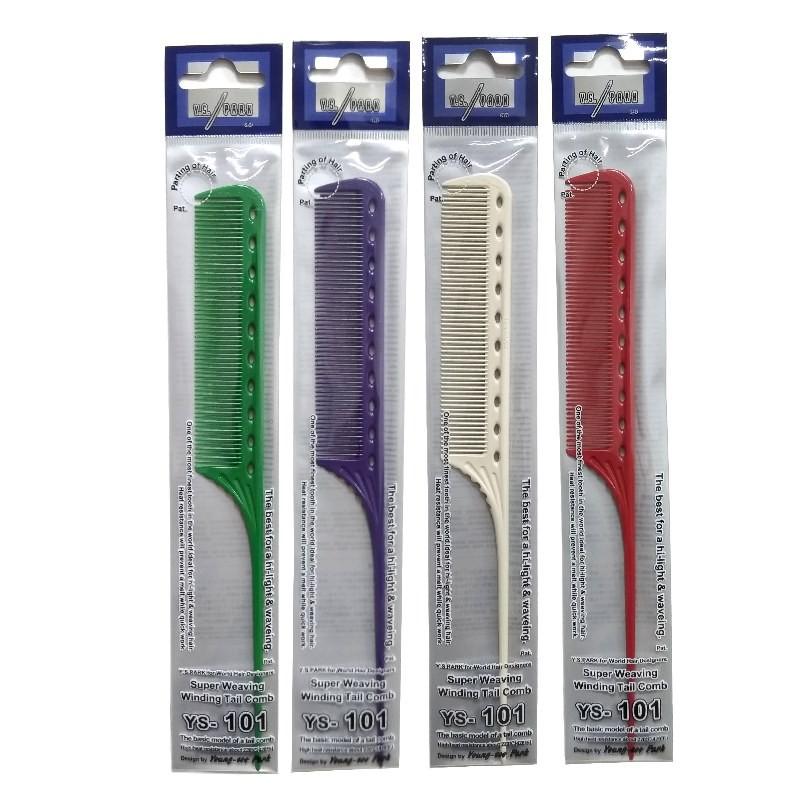 日本YS-101一體成形尖尾梳-- 紫/綠/白/紅