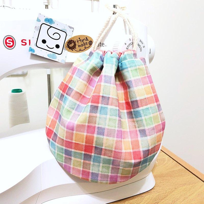 糖果格子/可愛圓圓束口提袋(中)收納口罩.隨身消毒液.各式小物