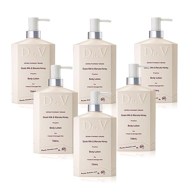 【澳洲Dr. V】專業級配方-山羊奶曼努考蜂蜜身體乳液(6入組 750ml/瓶)