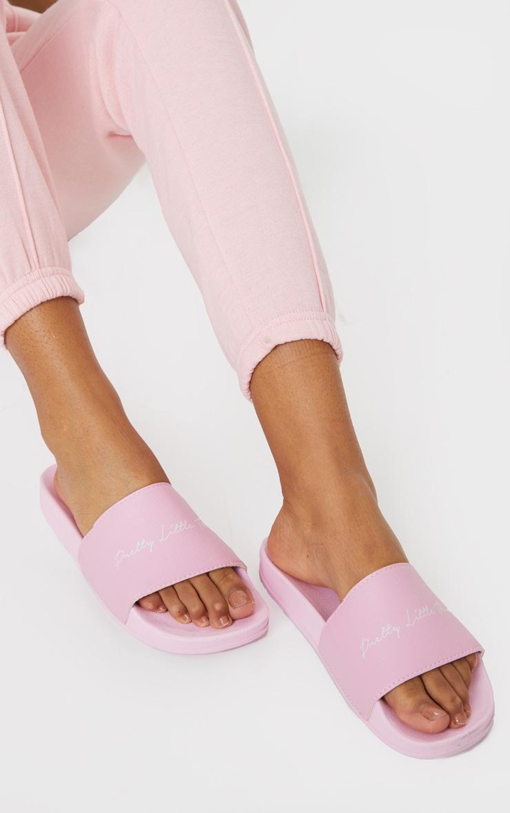 PRETTYLITTLETHING Baby Pink Slogan Slider