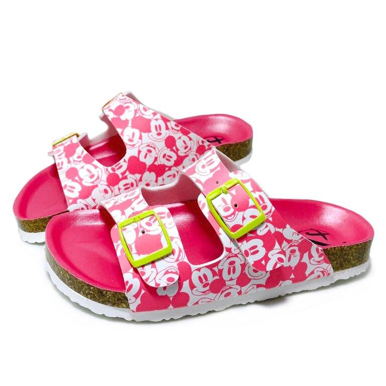 【滿額領券折$150】迪士尼DISNEY 童款滿版米妮雙釦氣墊伯肯拖鞋 [119320] 桃 MIT台灣製造【巷子屋】