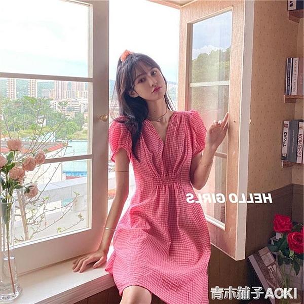 韓版粉紅格紋氣質中長款洋裝新款超仙甜美少女收腰桔梗裙夏 青木鋪子