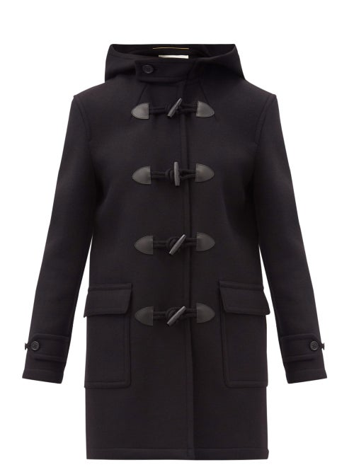 Saint Laurent - Hooded Virgin-wool Duffel Coat - Womens - Black