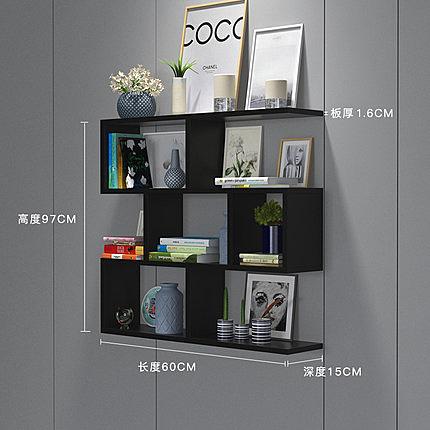 壁掛書架 牆上置物架壁掛吊櫃牆壁櫃儲物櫃隔板實木臥室創意書櫃書架免打孔T