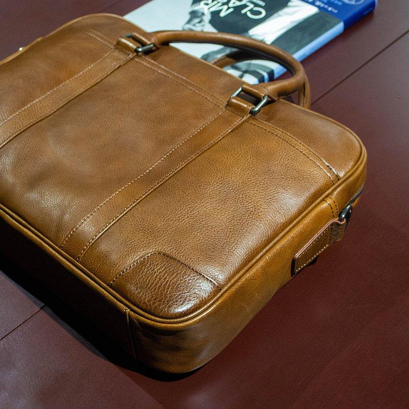 REGENT 15吋真皮公事包-淺棕 /15 inch Leather Briefcase - Tan