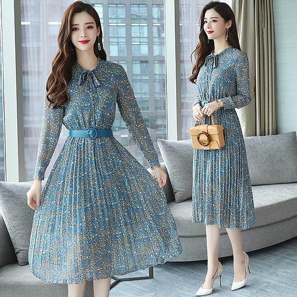 VK精品服飾 韓國風長裙氣質雪紡大擺百褶碎花優雅長袖洋裝