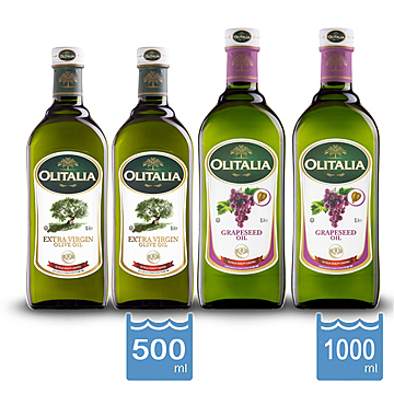 【Olitalia奧利塔】特級冷壓橄欖油500ml*2瓶+葡萄籽油1000ml*2瓶