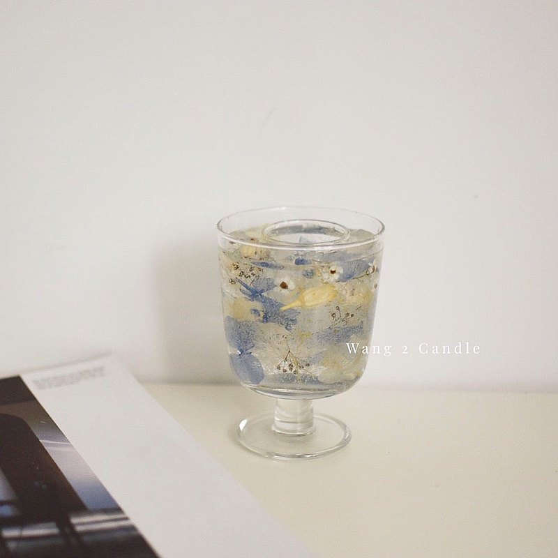 韓系唯美 高腳杯透明花燭台 花材色系可以客製化