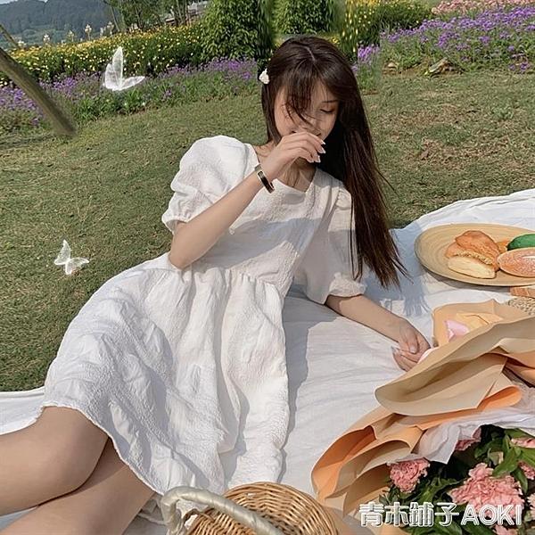 大碼泡泡袖洋裝女微胖女生小白裙甜美胖mm超仙白色初戀裙夏裙子 青木鋪子