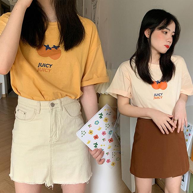 FOFU-短袖T恤日系橘子印花寬鬆百搭短袖T恤【08G-B3015】