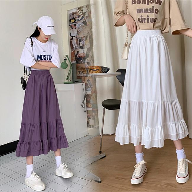 FOFU-半身長裙荷葉邊中長款高腰褶皺顯瘦半身長裙【08G-I0584】