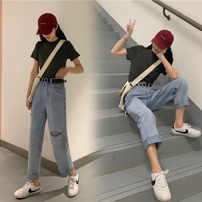 FOFU-牛仔褲寬鬆破洞直筒高腰牛仔褲【08G-G1631】