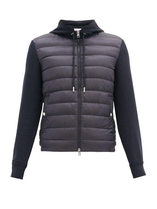 Moncler - Tricoloured-hood Zipped Cotton-jersey Sweatshirt - Mens - Navy