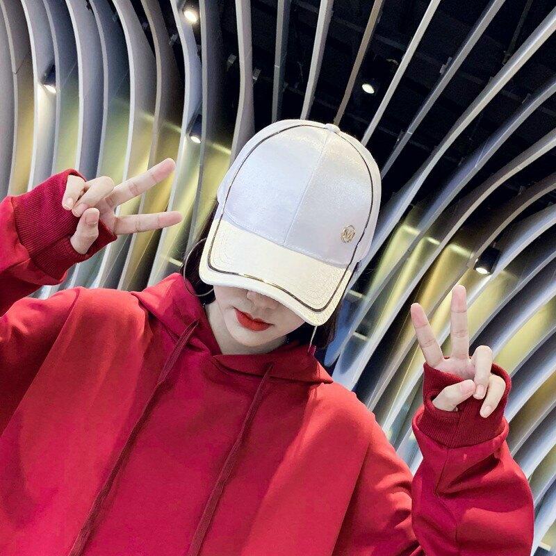 現貨發出人氣爆款2020滾金邊棒球帽 金線條 鑲鑽帽春夏韓版休閑帽子學生百搭棒球帽情侶帽現貨在台韓國流行