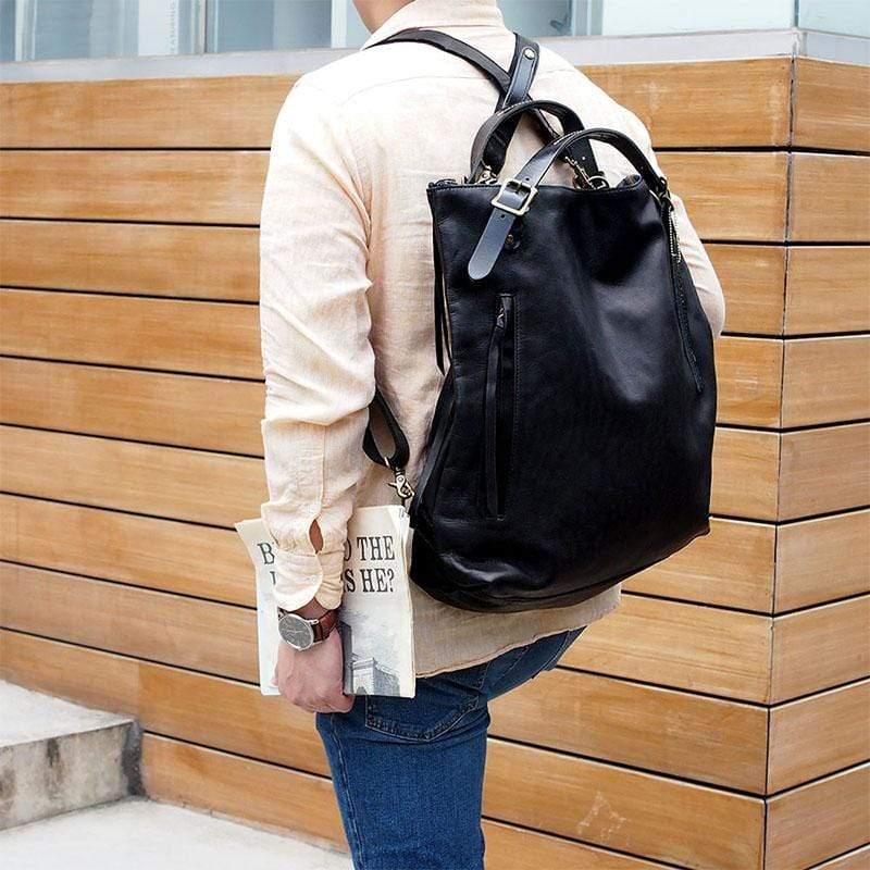 日本直率時尚後背/手提/側背三用包 - 黑色