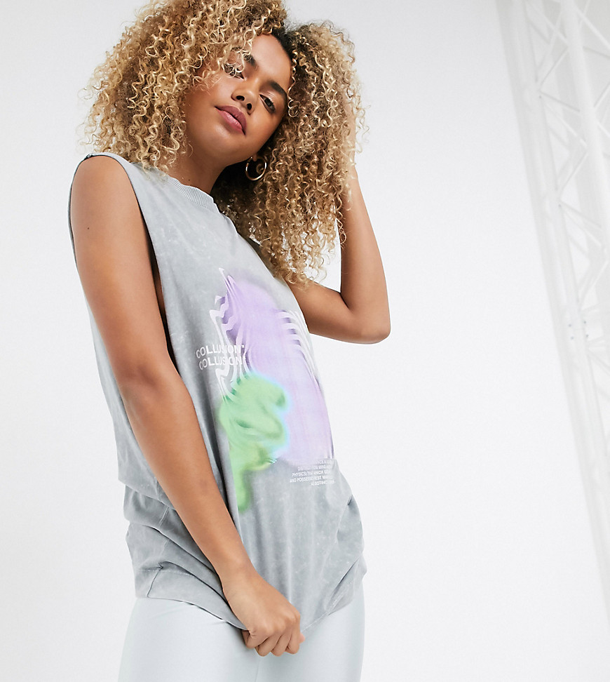 COLLUSION Unisex sleeveless t-shirt with print in grey acid wash