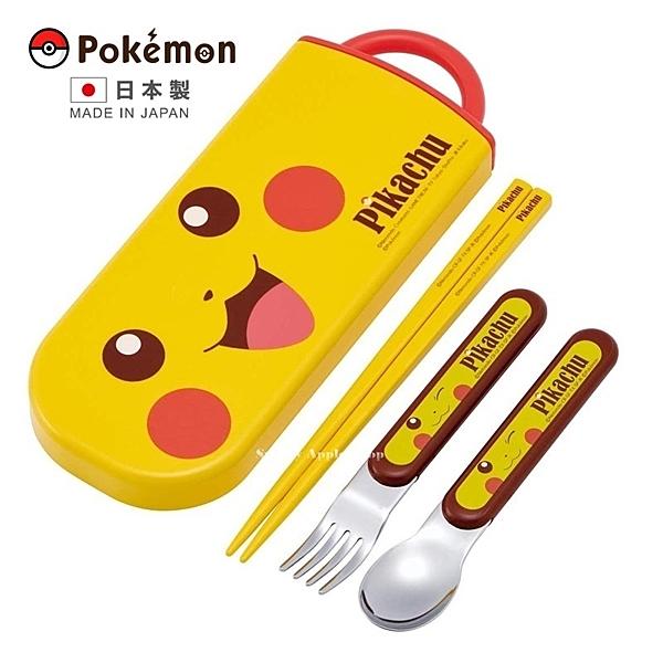 【 日本製 】日本限定 寶可夢 皮卡丘 大臉版 湯匙 / 筷子 / 叉子 攜帶餐具套組