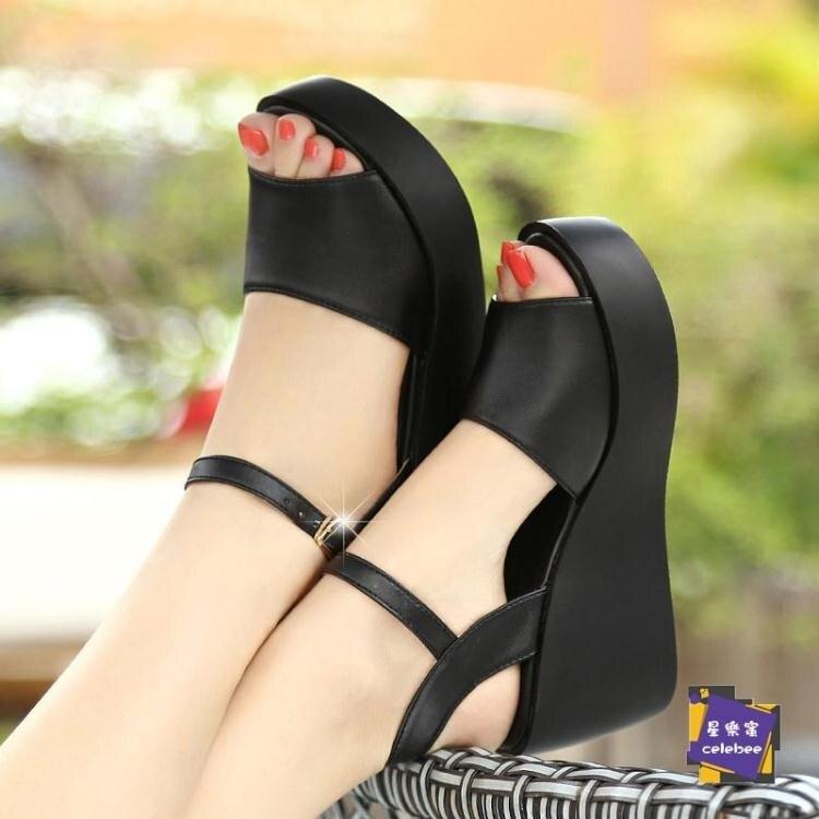 楔形涼鞋 2020新款皮質厚底楔形涼鞋女夏季高跟鬆糕厚底百搭休閒女鞋
