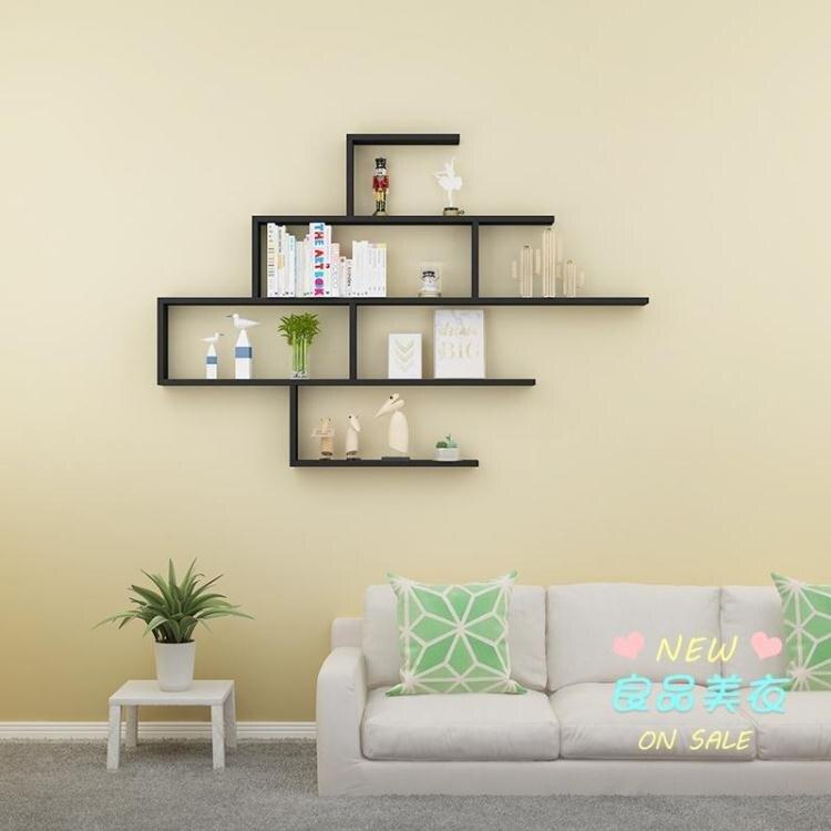 牆上置物架 創意隔板 掛牆 客廳背景牆壁壁掛裝飾架北歐儲物架書架牆上置物架T【全館免運 限時鉅惠】
