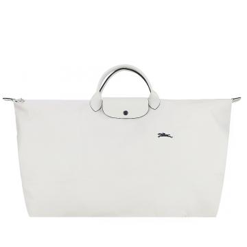 LONGCHAMP LE PLIAGE COLLECTION系列刺繡短把手提旅行袋(特大/粉白)