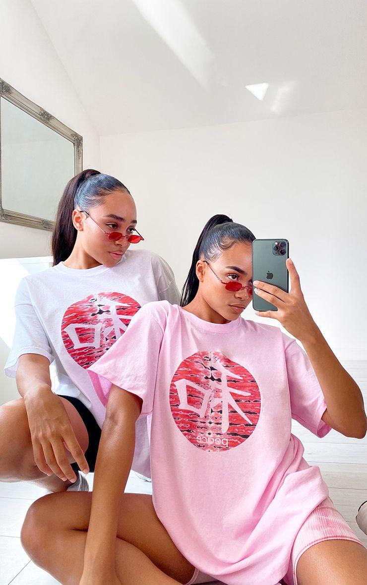 Baby Pink Printed Peace Logo T Shirt