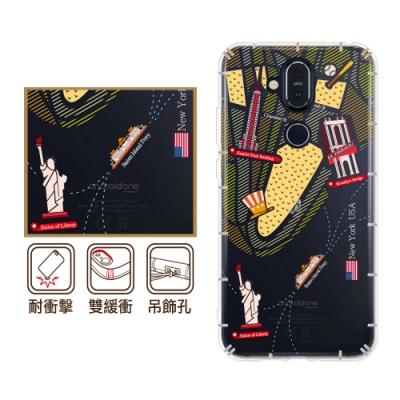 反骨創意 Nokia全系列 彩繪防摔手機殼-世界旅途(慾望城市)