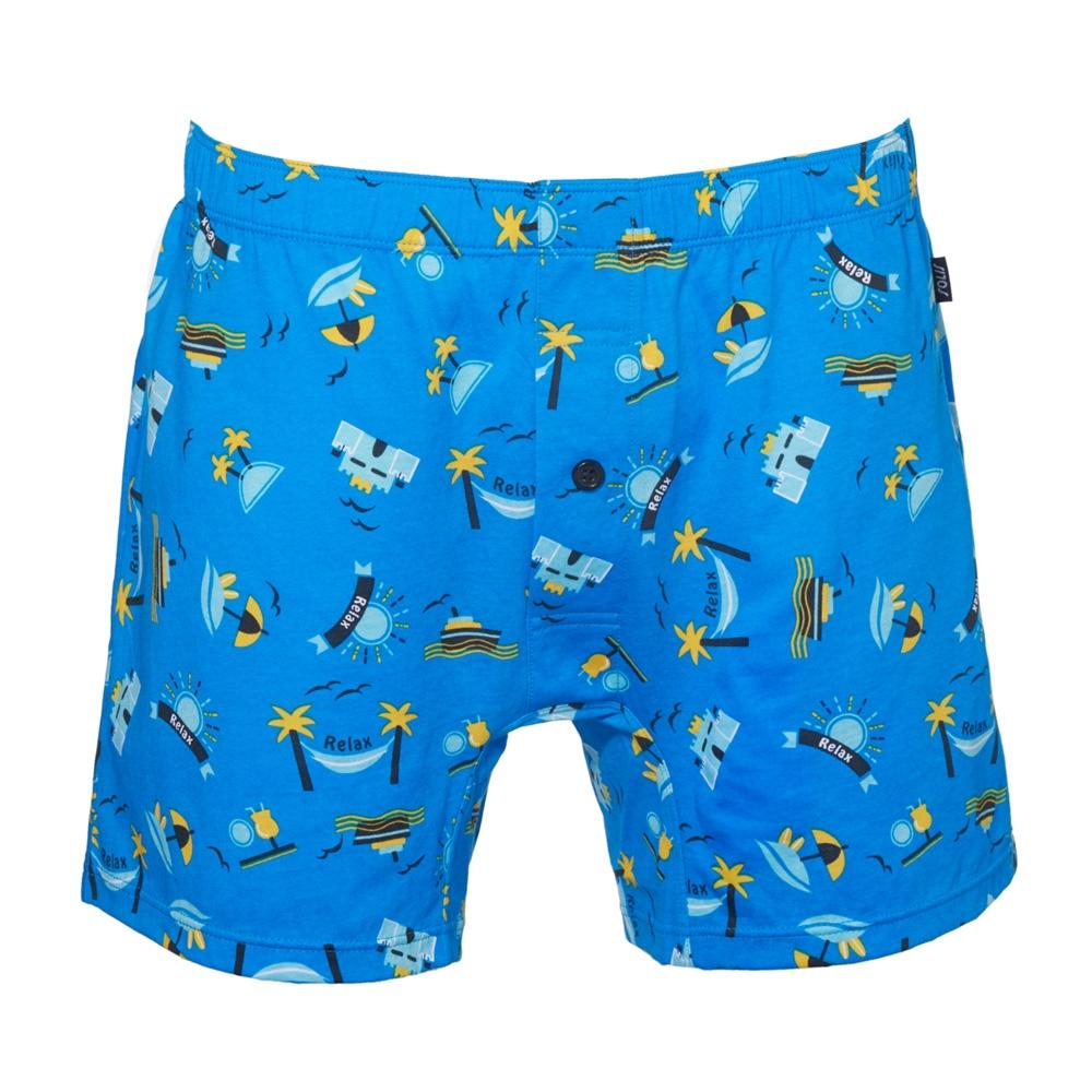 SOLIS 海灘遊俠系列S-XXL寬鬆印花四角男內褲(鑽石藍)
