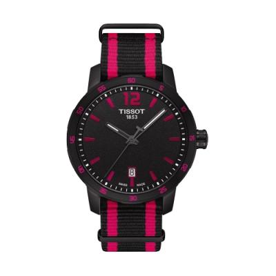 TISSOT QUICKSTER NATO 活力運動腕錶-黑x桃紅/40mm T0954103705701
