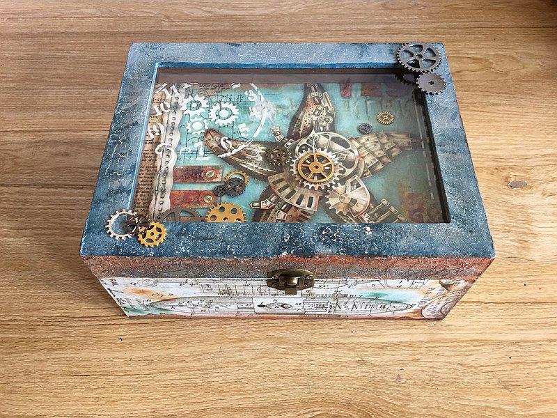 夢想航行寶盒 立體 木盒 繪畫 蝶古巴特 紙藝拼貼 桃園 一人成團