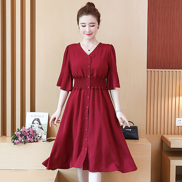 大碼洋裝 韓版胖mm寬鬆顯瘦 中長款 遮肚减齡連身裙