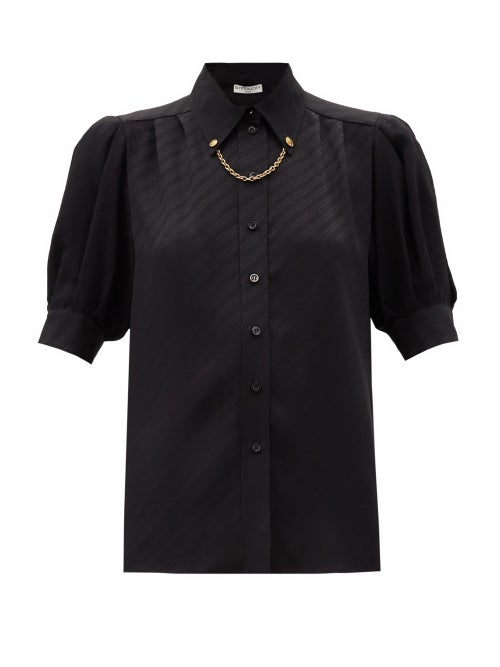 Givenchy - Chain-collar Logo-jacquard Silk Blouse - Womens - Black