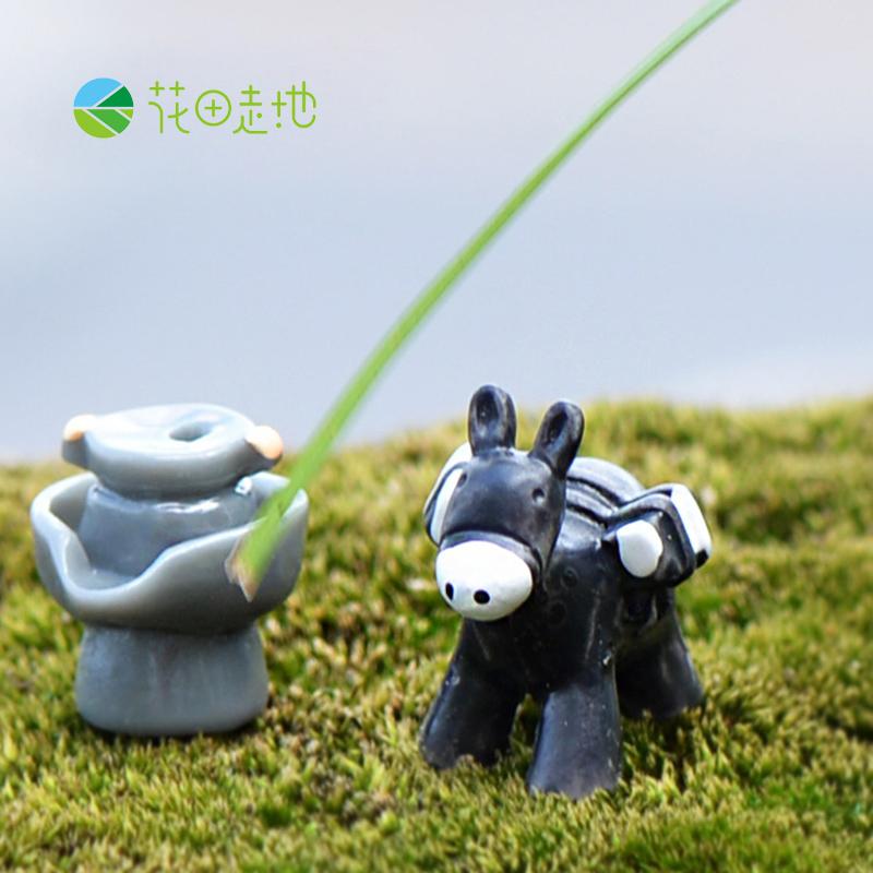苔蘚微景觀樹脂擺件小驢子和磨園藝造景diy材料多肉植物飾品配件