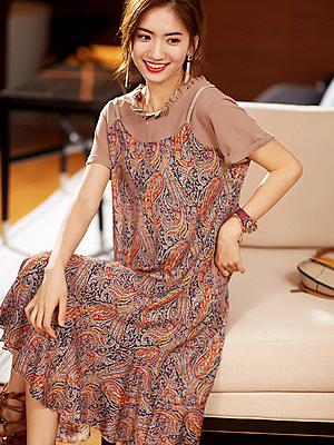洋裝~連身裙~韓版拼接碎花假兩件寬松中長款連身裙女N2FB11G愛尚布衣