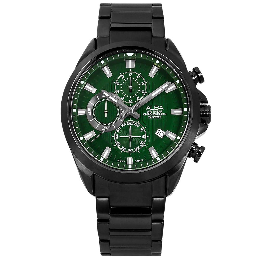 ALBA / VD57-X187G / 限定款 三眼計時 紳士英倫 日期 防水100米 不鏽鋼手錶 綠x鍍黑 43mm