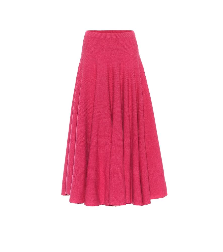 Virgin wool pleated midi skirt
