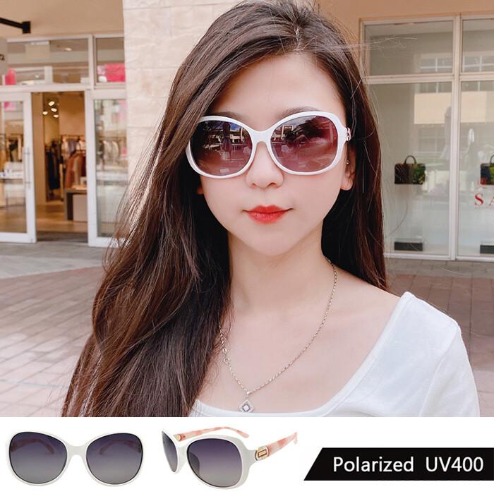 淑女偏光墨鏡 純白精品時尚設計 polaroid墨鏡 簡約大框 顯小臉 粉色大理石 100%抗紫外線
