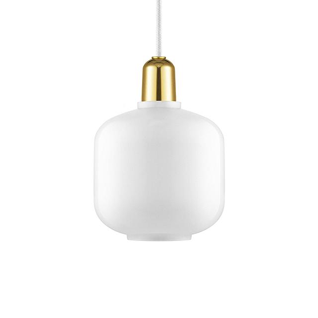 Normann Copenhagen Amp 真空管 玻璃 吊燈 小尺寸 - 黃銅版(白色燈罩 - 黃銅底座)