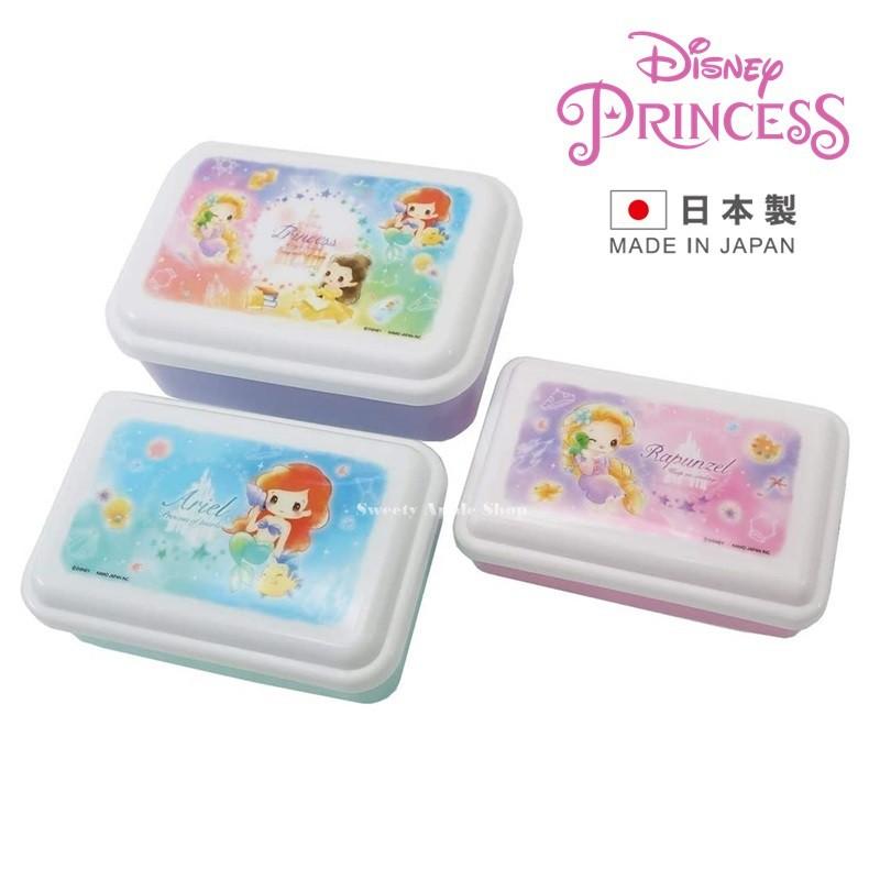 迪士尼【 SAS日本限定 日本製 】迪士尼公主 小美人魚 長髮公主 貝兒 Q版 便當盒 野餐盒 3入套組