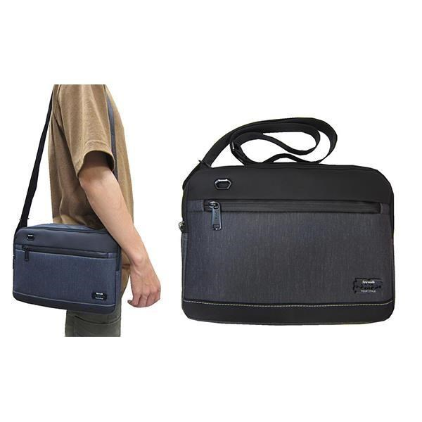 ~雪黛屋~SPYWALK 斜側包中容量二層主袋+外袋共四層小平板防水科技皮革材質