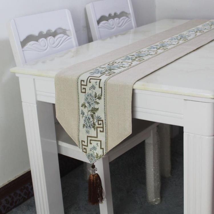 桌旗 桌旗新中式桌墊墊子禪意茶道茶幾餐桌布現代簡約復古風電視柜布藝